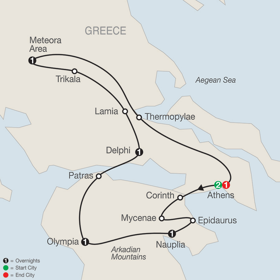 Itinerary map of Classical Greece 2018 from Athens to Athens