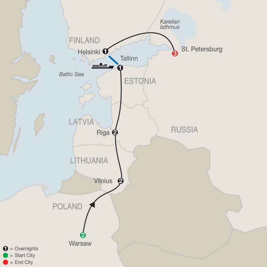Warsaw, the Baltics and Helsinki with St. Petersburg (RQE2018)