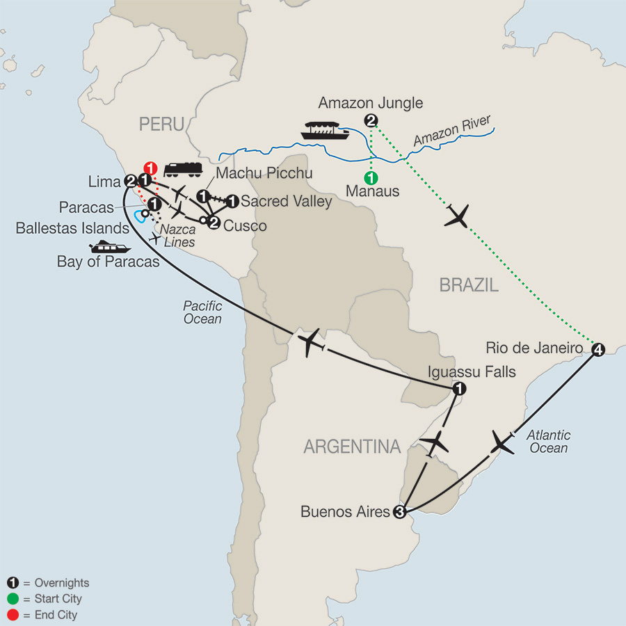 Itinerary map of Spirit of South America with Amazon & Nazca Lines 2018 from Manaus to Lima