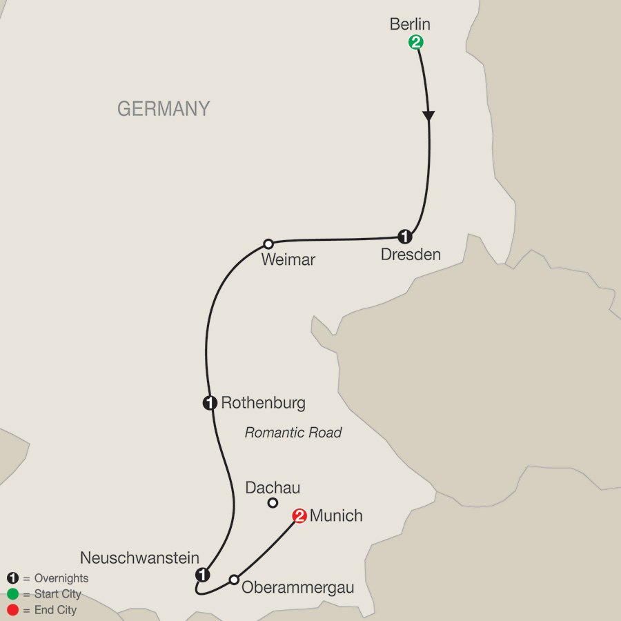 Itinerary map of German Vista 2018 from Berlin to Munich