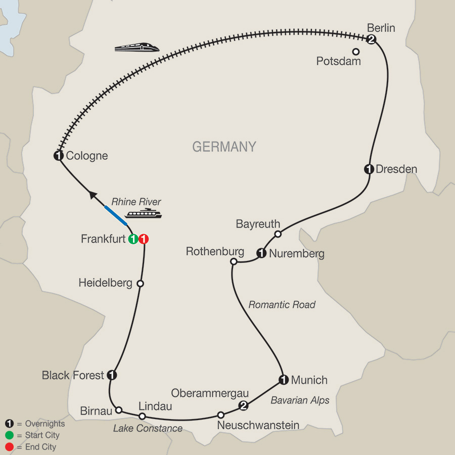 Itinerary map of German Highlights 2018 from Frankfurt to Frankfurt