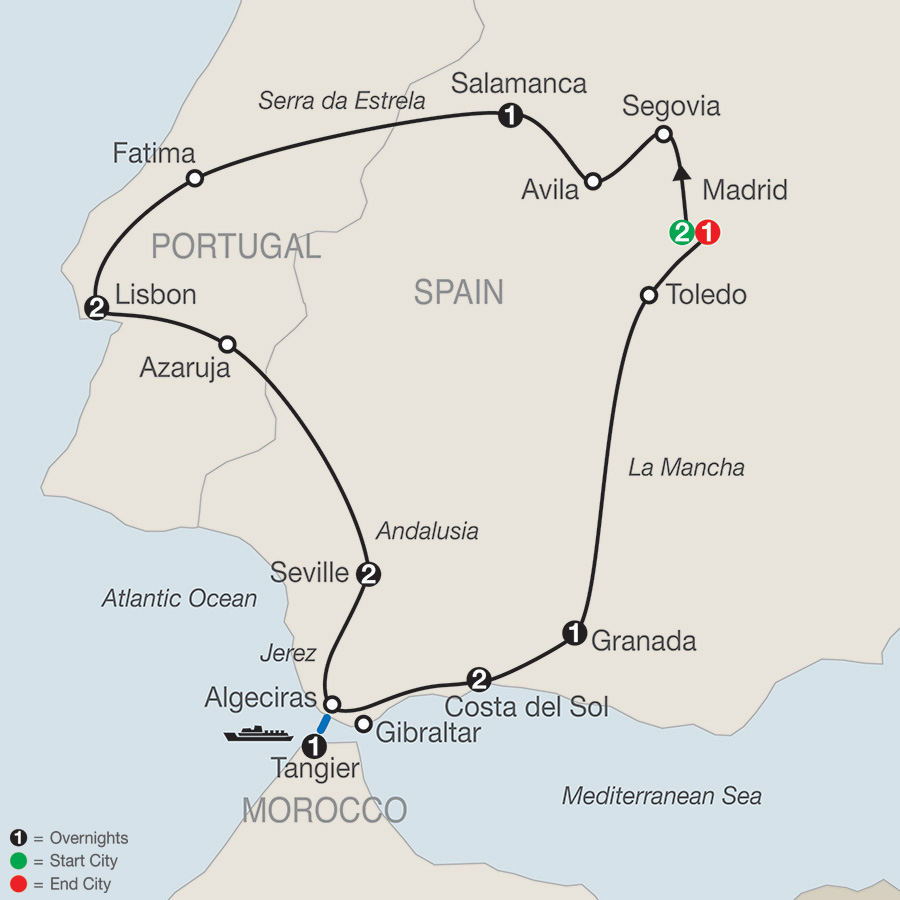 Itinerary map of Iberian Vacation 2018 from Madrid to Madrid