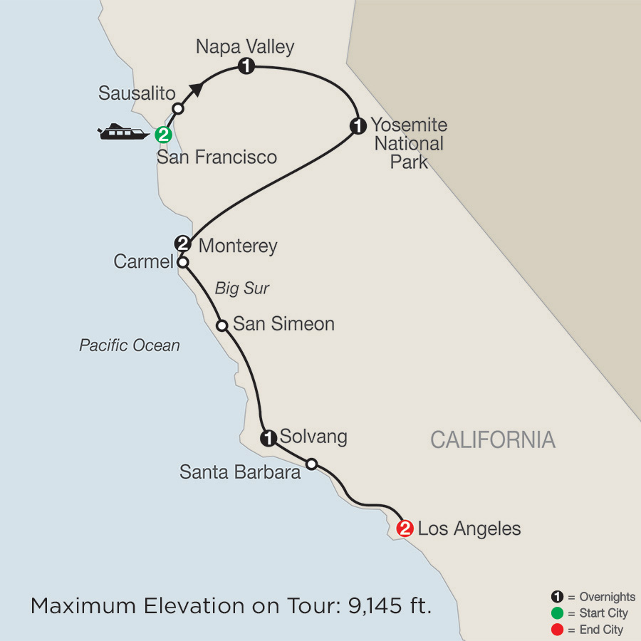 Itinerary map of California Classics 2019 from San Francisco to Los Angeles