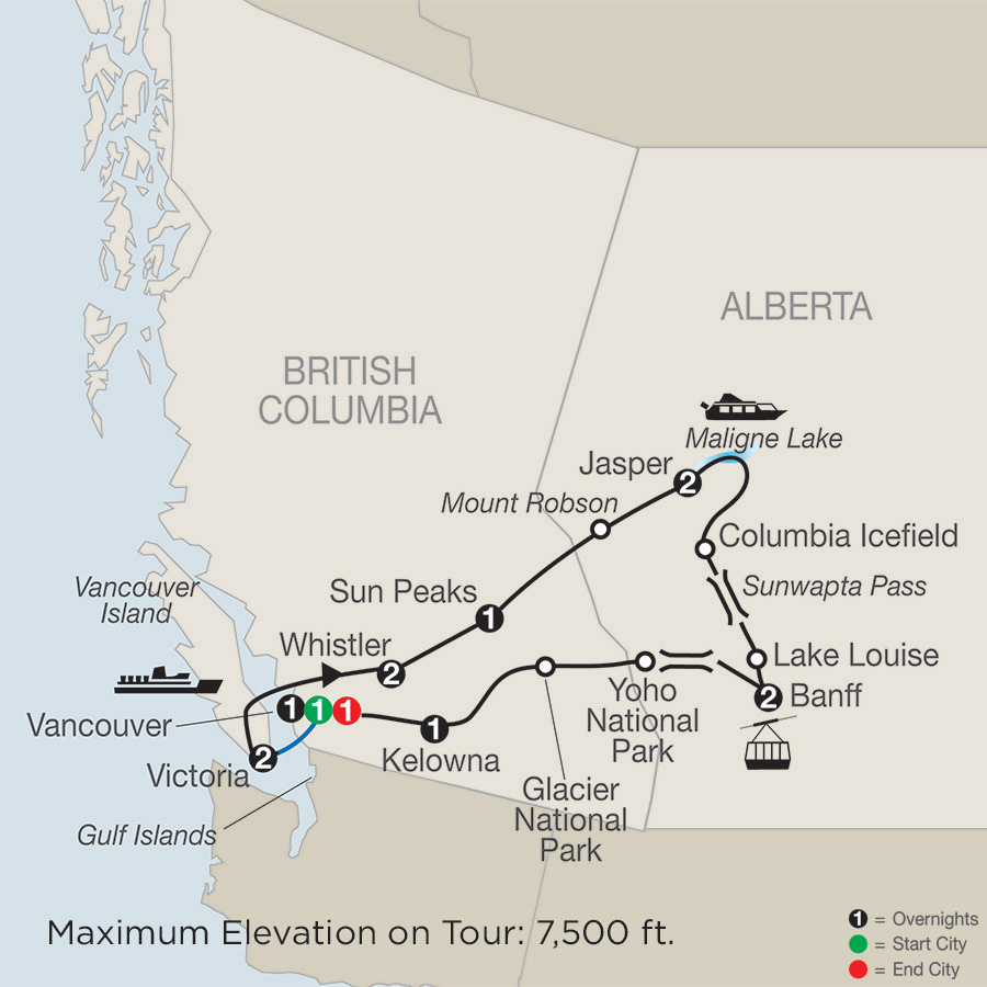West Of Canada Map.Western Canada Tours Vacation Packages Globus