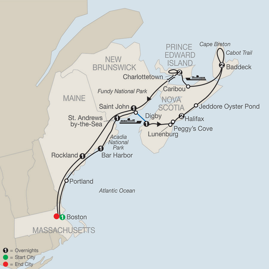 Itinerary map of Maritimes Adventure 2019 from Boston to Boston