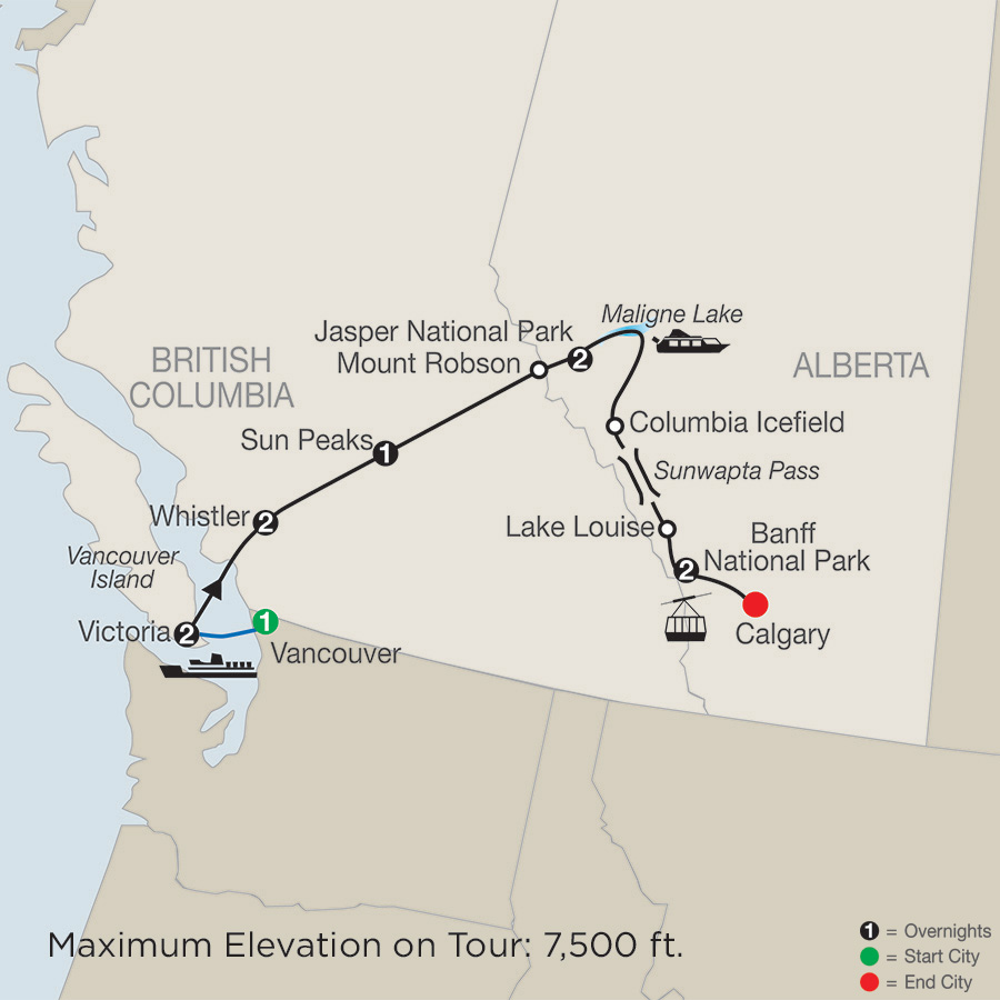 Map Of Canada Vancouver To Calgary.Western Canada Tours Vacation Packages Globus