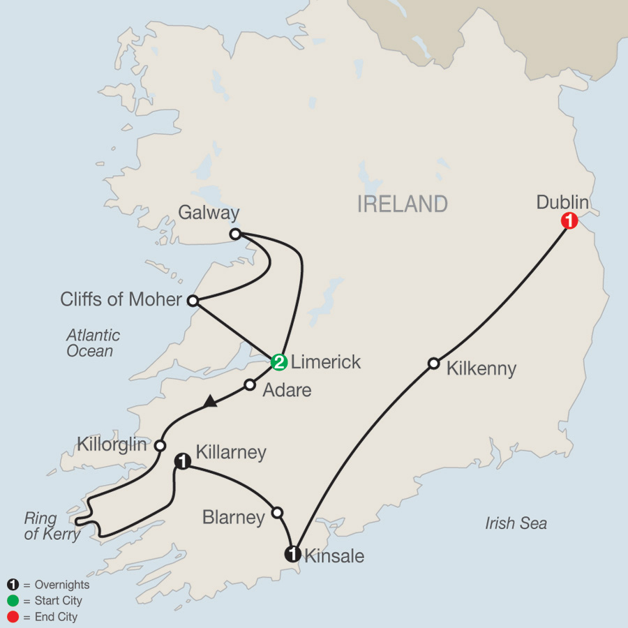 South Of Ireland Map.Globus Escorted Tours Guided Vacations