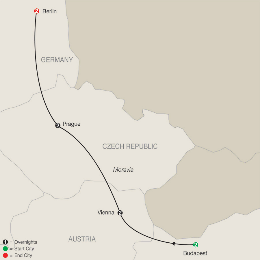 Itinerary map of Imperial Escape with Berlin 2019 from Budapest to Berlin
