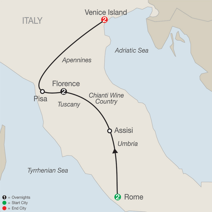 Itinerary map of Italian Escape 2019 from Rome to Venice