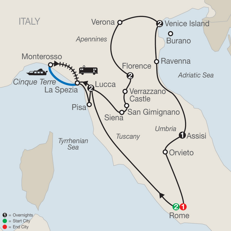Map Of Italy Showing Venice.Italy Tours Globus Italy Travel