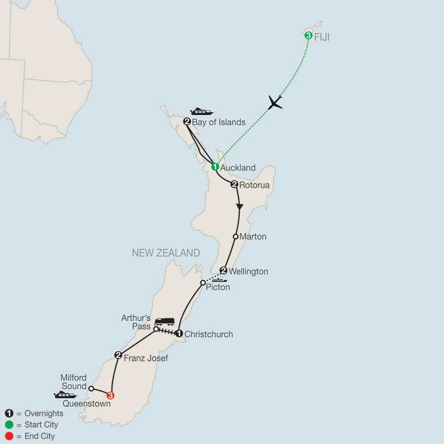 Best of new zealand with fiji 2019 from nadi to queenstown globus itinerary map of best of new zealand with fiji 2019 from nadi to queenstown gumiabroncs Gallery