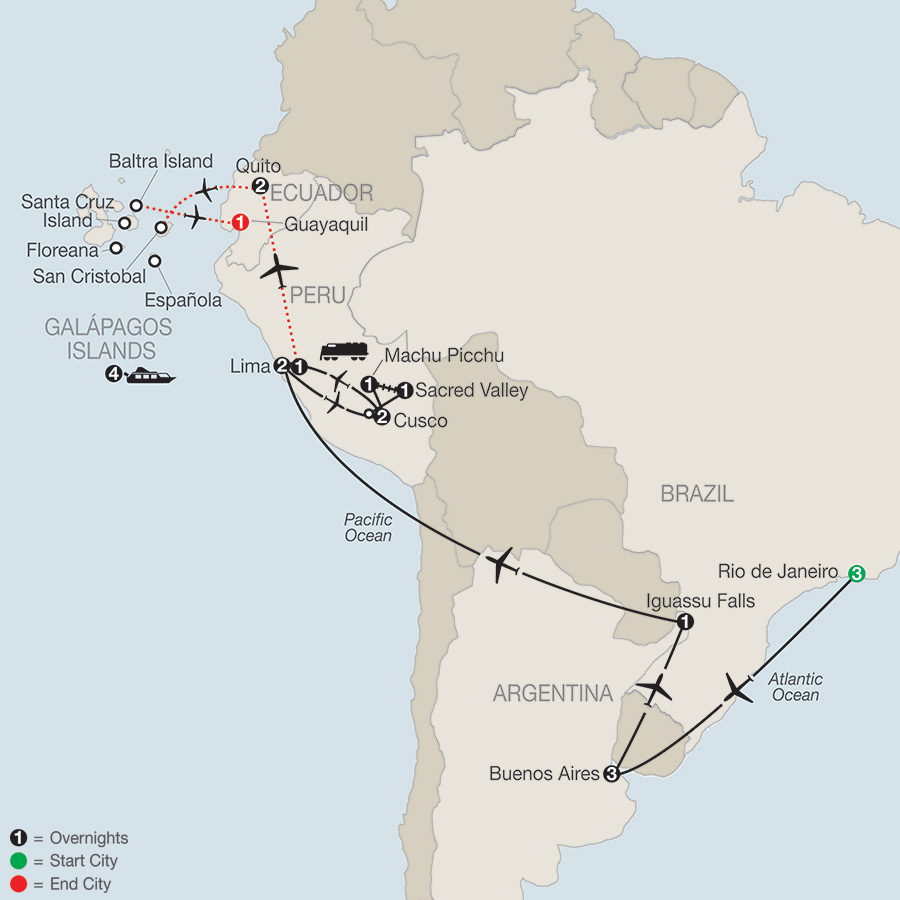 Itinerary map of Spirit of South America with Galápagos Cruise 2019 from Rio de Janeiro to Guayaquil