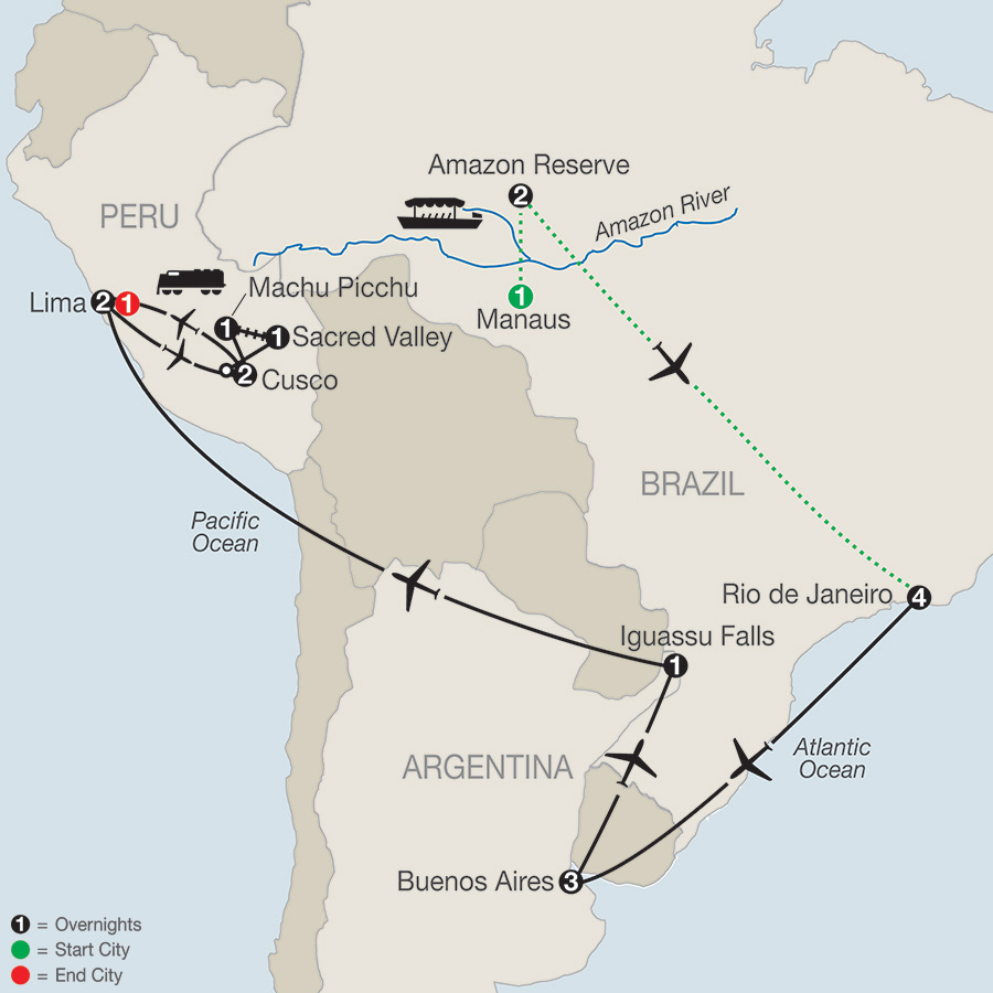 Itinerary map of Spirit of South America with Amazon 2019 from Manaus to Lima