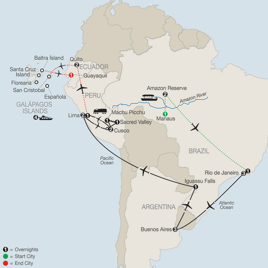 Itinerary map of Spirit of South America with Amazon & Galápagos Cruise 2019 from Manaus to Guayaquil