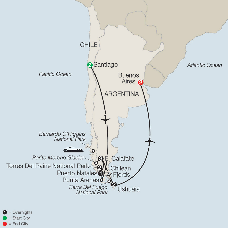 Itinerary map of Patagonia: Journey to the End of the World 2019 from Santiago to Buenos Aires