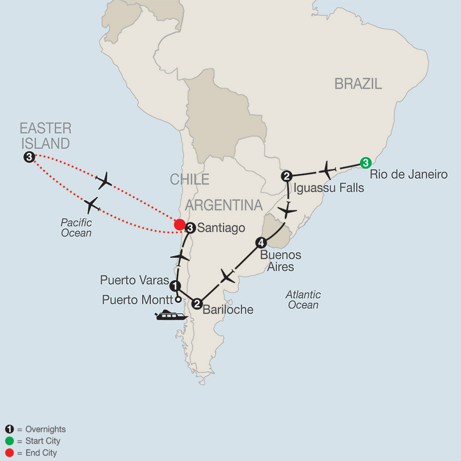 Itinerary map of South American Odyssey with Easter Island 2019 from Rio de Janeiro to Santiago
