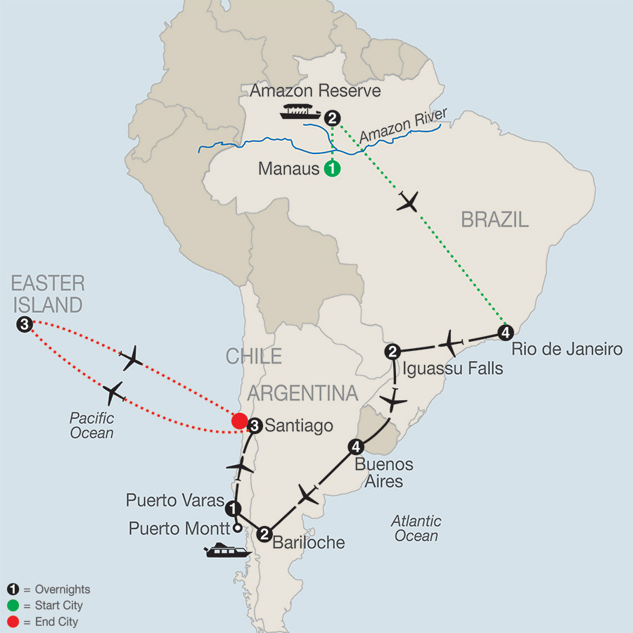 Itinerary map of South American Odyssey with Amazon & Easter Island 2019 from Manaus to Santiago