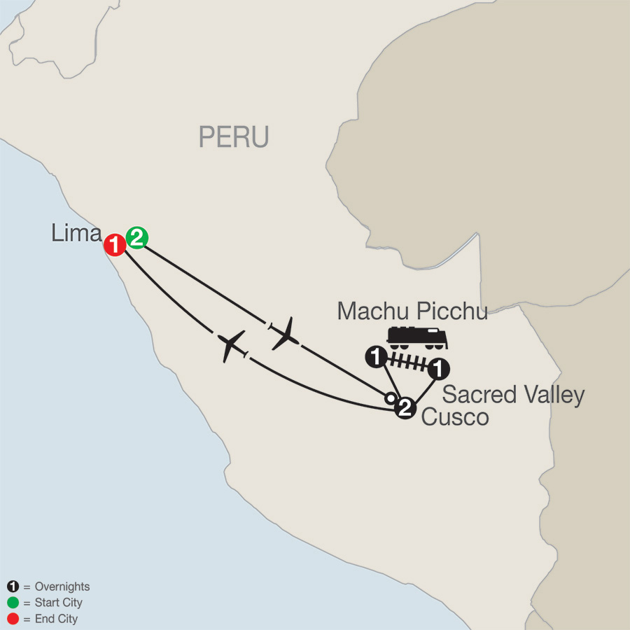 Itinerary map of Peru Splendors 2019 from Lima to Lima