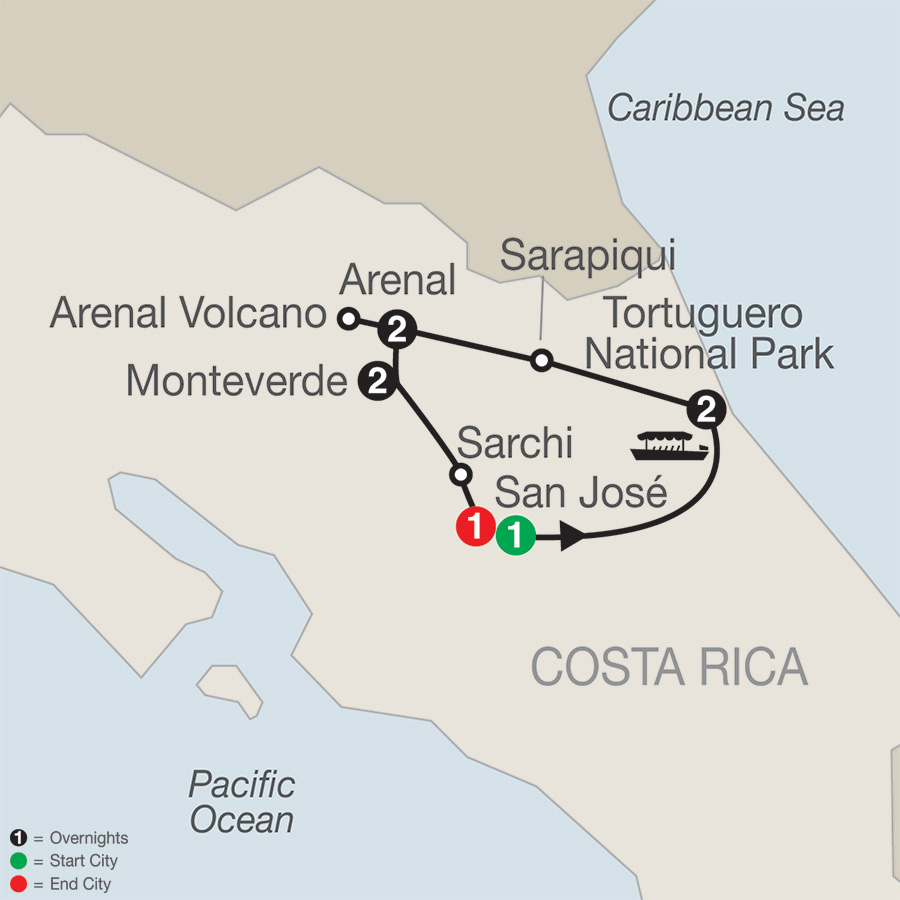 Itinerary map of Natural Wonders of Costa Rica 2019 from San José to San José