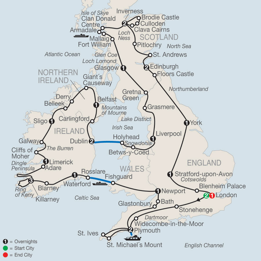 Map Of Ireland And Wales.England Tours Globus England Vacation Packages