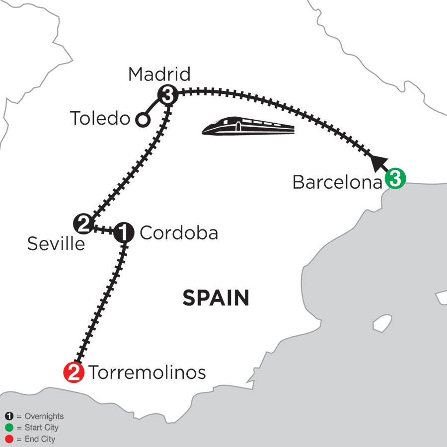 3 Nights Barcelona, 3 Nights Madrid with Toledo, 2 Nights Seville, 1 Night Cordoba and 2 Nights Torremolinos (DBC2018)