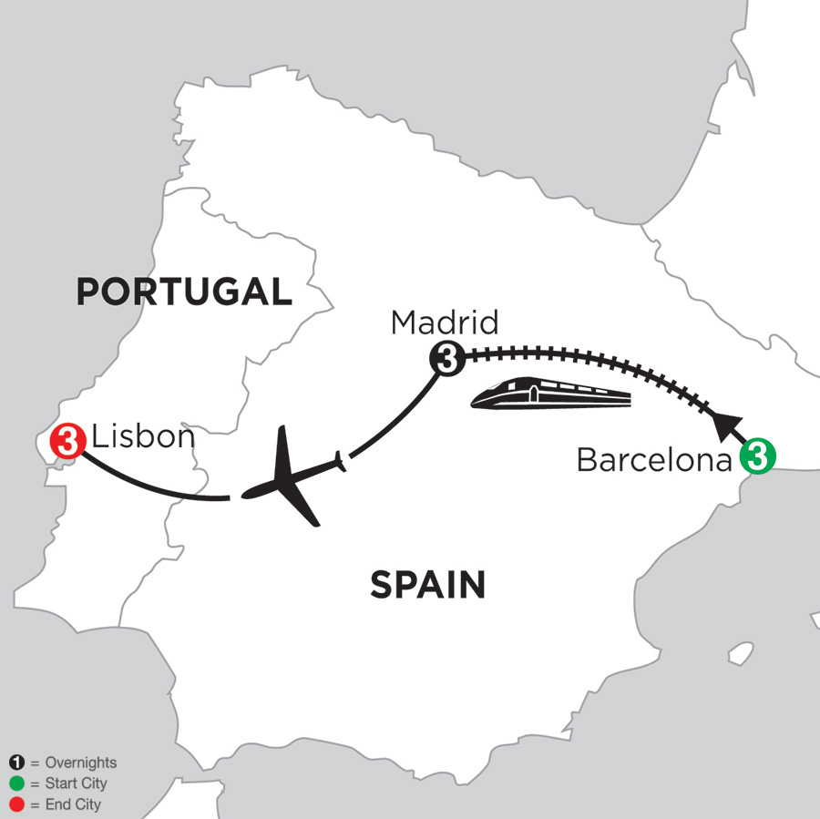 3 Nights Barcelona, 3 Nights Madrid and 3 Nights Lisbon (DBL2018)