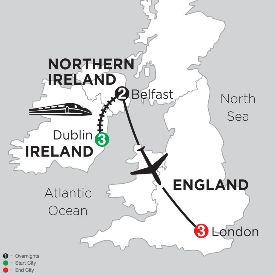 3 Nights Dublin, 2 Nights Belfast and 3 Nights London (DEB2018)