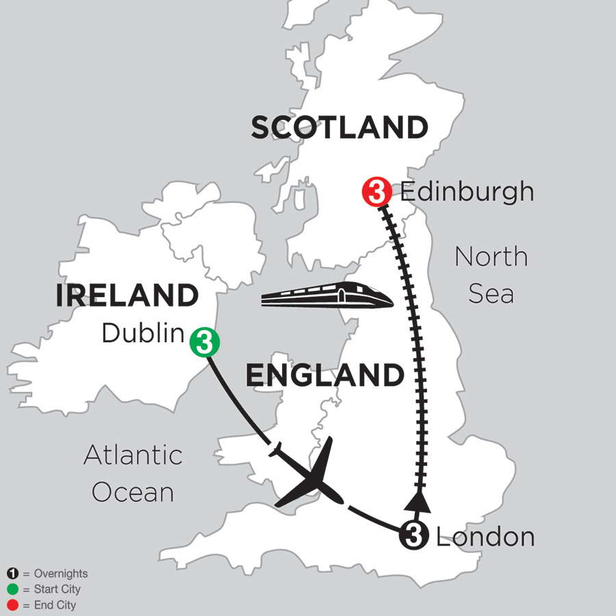 3 Nights Dublin, 3 Nights London and 3 Nights Edinburgh (DED2018)