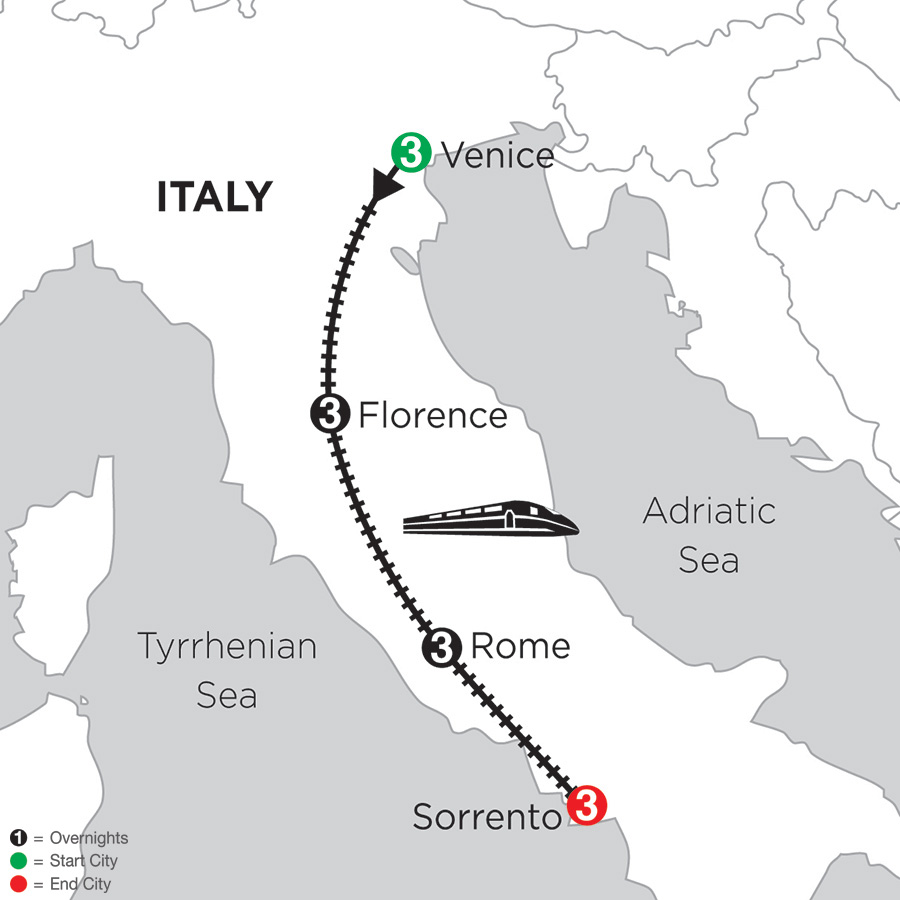 3 Nights Venice, 3 Nights Florence, 3 Nights Rome and 3 Nights Sorrento (DIP2018)