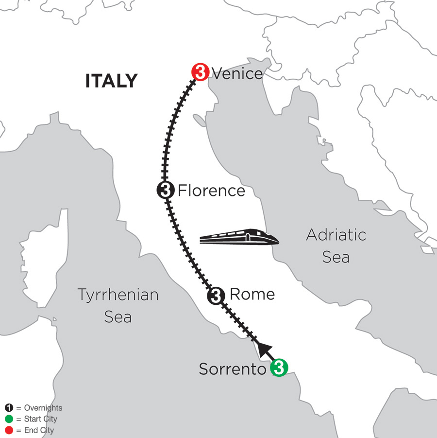 3 Nights Sorrento, 3 Nights Rome, 3 Nights Florence and 3 Nights Venice (DIS2018)