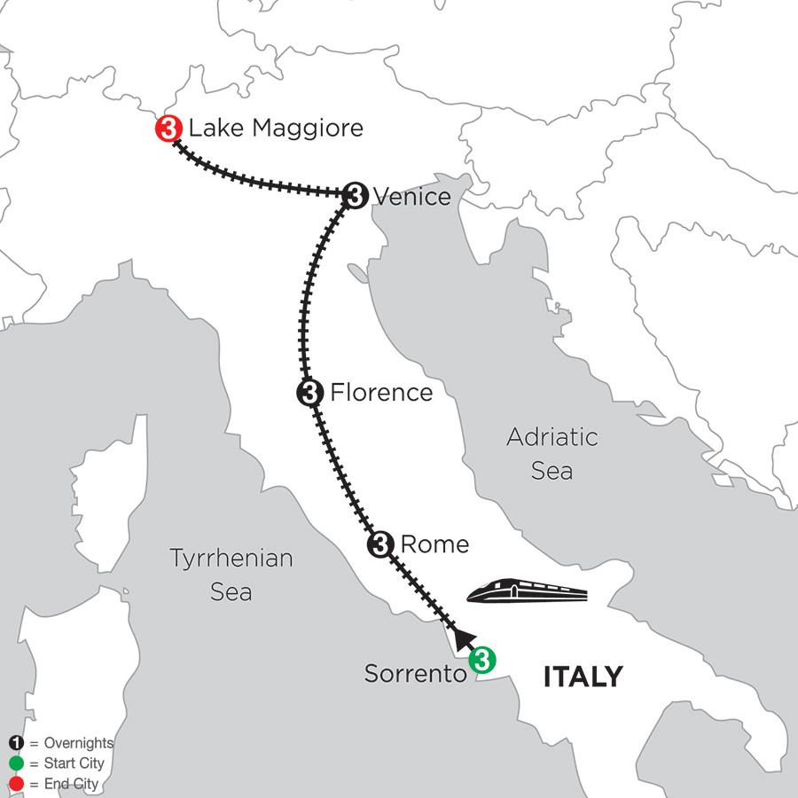 3 Nights Sorrento, 3 Nights Rome, 3 Nights Florence, 3 Nights Venice and 3 Nights Lake Maggiore (DIZ2018)