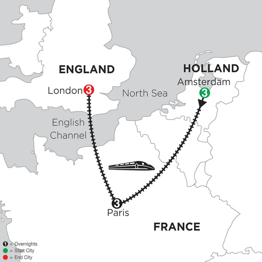 3 Nights Amsterdam, 3 Nights Paris and 3 Nights London (DKE2018)