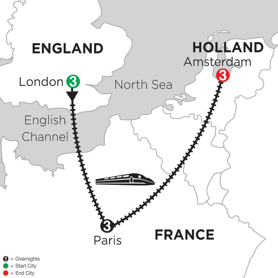 3 Nights London, 3 Nights Paris and 3 Nights Amsterdam (DRE2018)