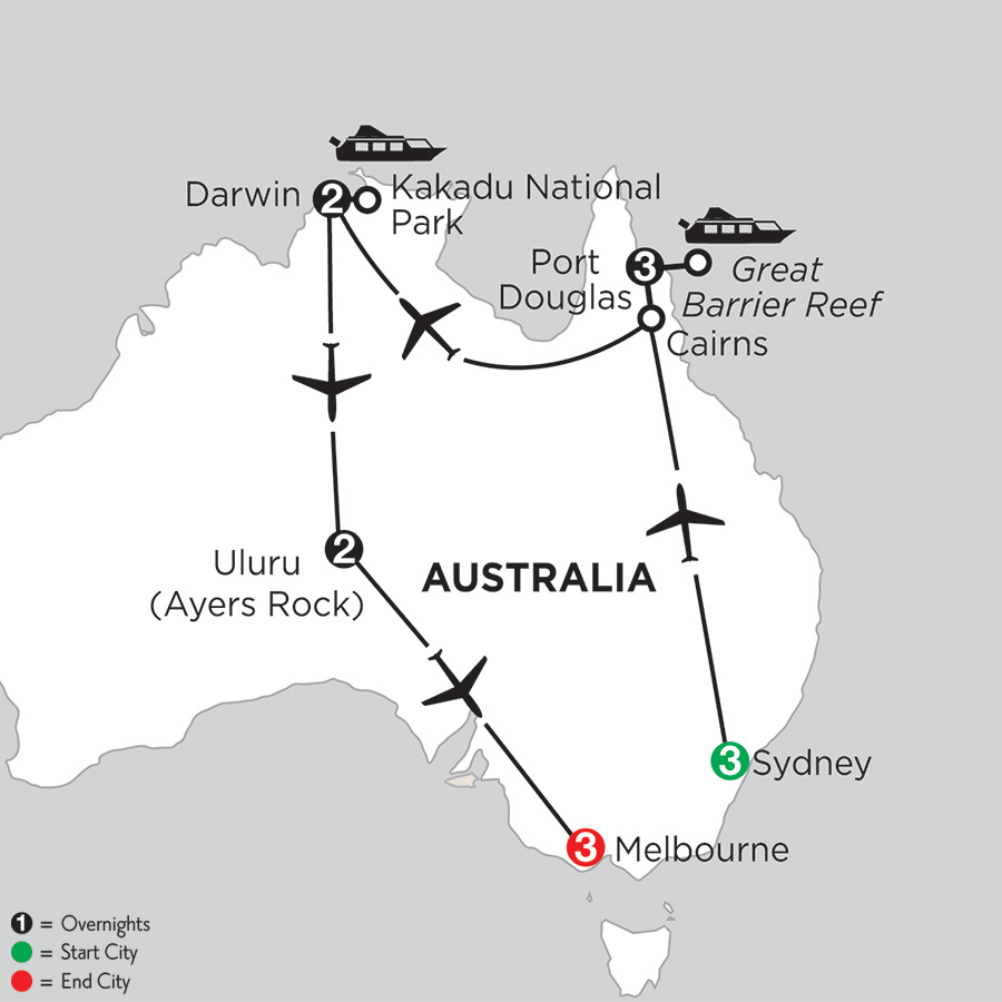Itinerary map of Wonders of Australia 2019 from Sydney to Melbourne