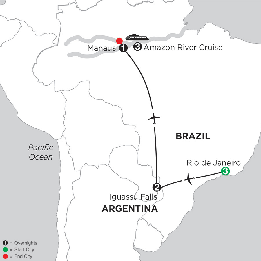 Itinerary map of Amazonia Voyage with Rio & Iguassu 2019 from Rio de Janeiro to Manaus