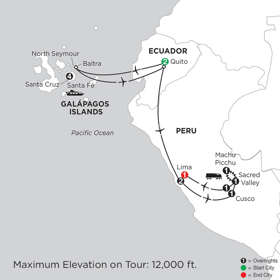 Itinerary map of Galápagos Highlights & Peru 2019 from Quito to Lima