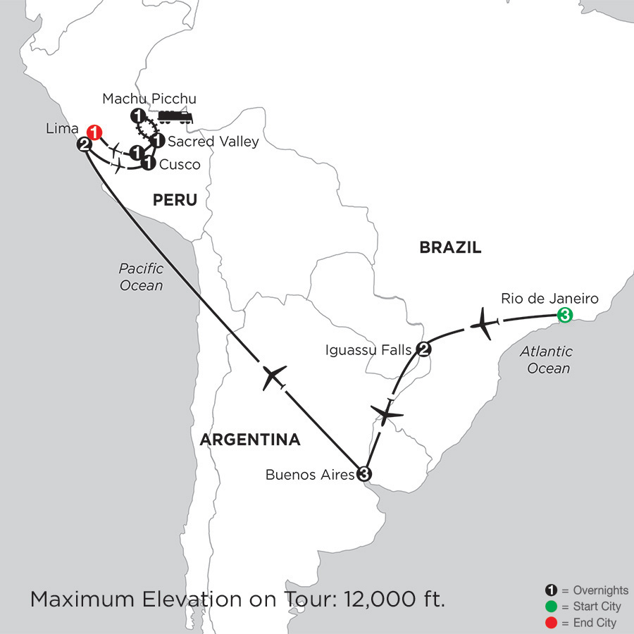 Itinerary map of Grand Tour of South America 2019 from Rio de Janeiro to Lima