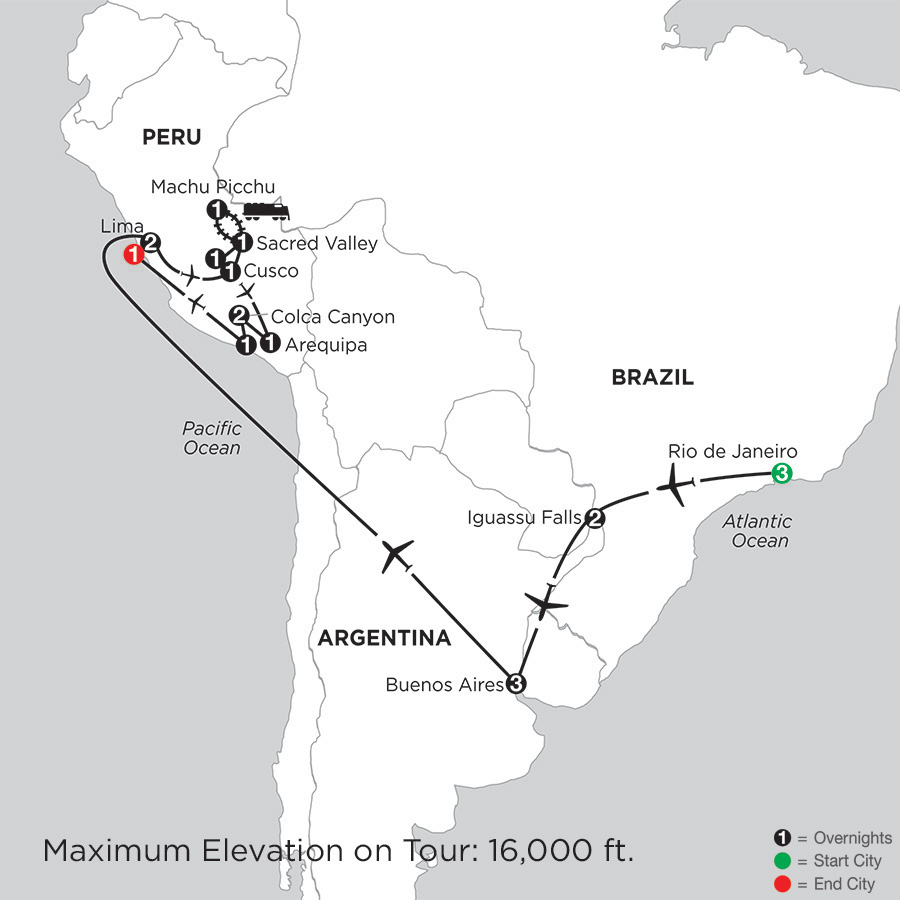 Itinerary map of Grand Tour of South America with Arequipa & Colca Canyon 2019 from Rio de Janeiro to Lima