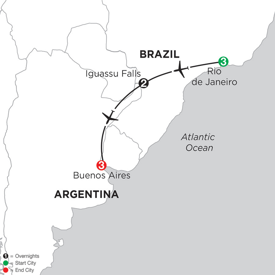 Itinerary map of South American Selection 2019 from Rio de Janeiro to Buenos Aires