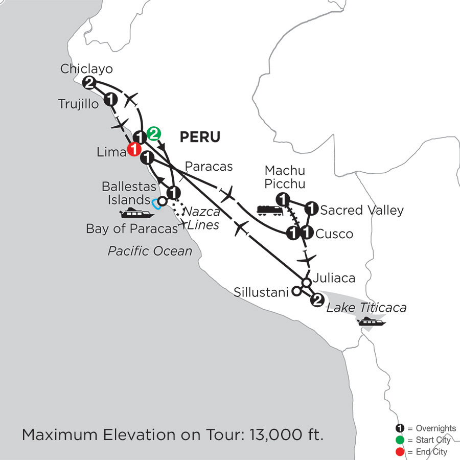 Itinerary map of Journey through the Andes with Chiclayo & Trujillo 2019 from Lima to Lima