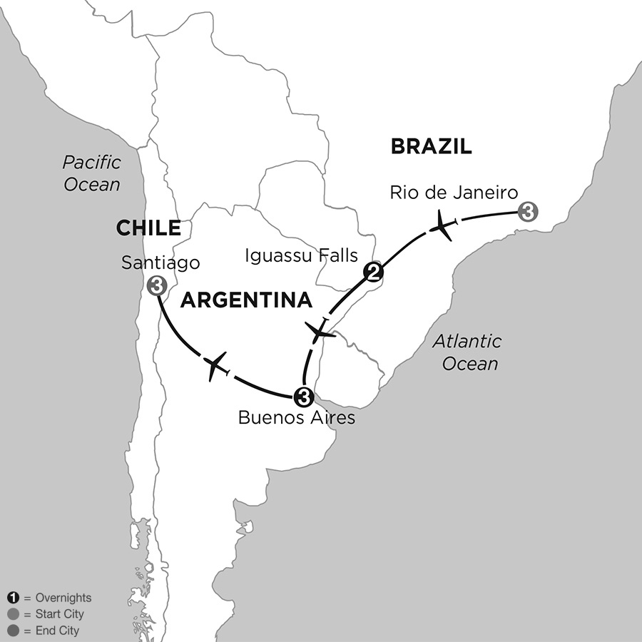 Itinerary map of Brazil, Argentina & Chile 2019 from Rio de Janeiro to Santiago
