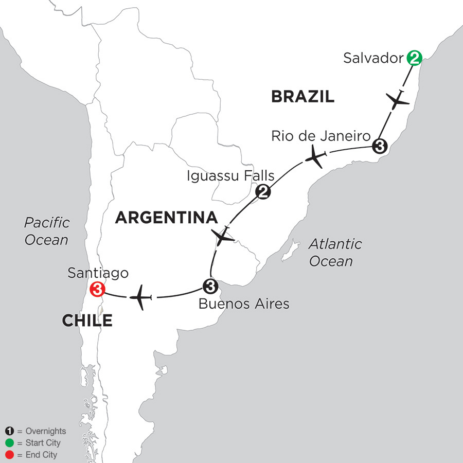Itinerary map of Brazil, Argentina & Chile with Salvador 2019 from Salvador to Santiago