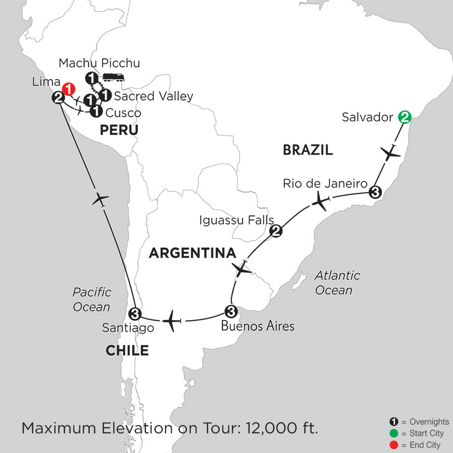 Itinerary map of Brazil, Argentina & Chile with Salvador, Peru & Machu Picchu 2019 from Salvador to Lima