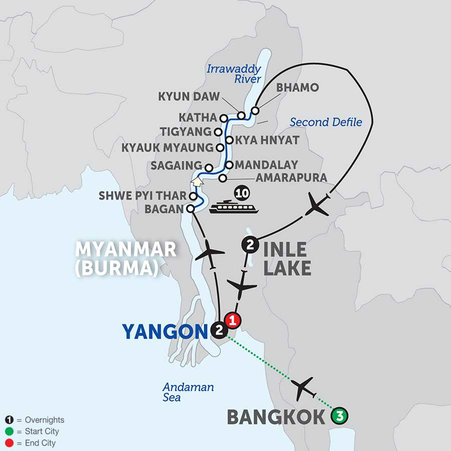 Spirit of Myanmar & the Untouched Upper Irrawaddy with Bangkok - Northbound