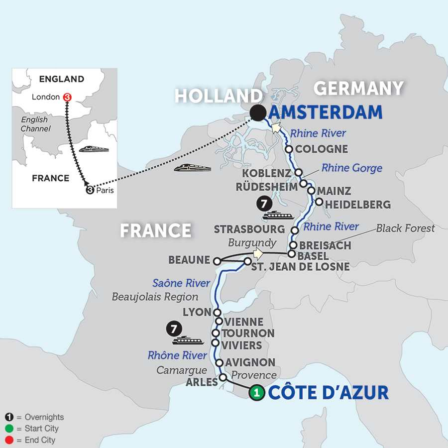 see map. rhine river cruises  avalon waterways®