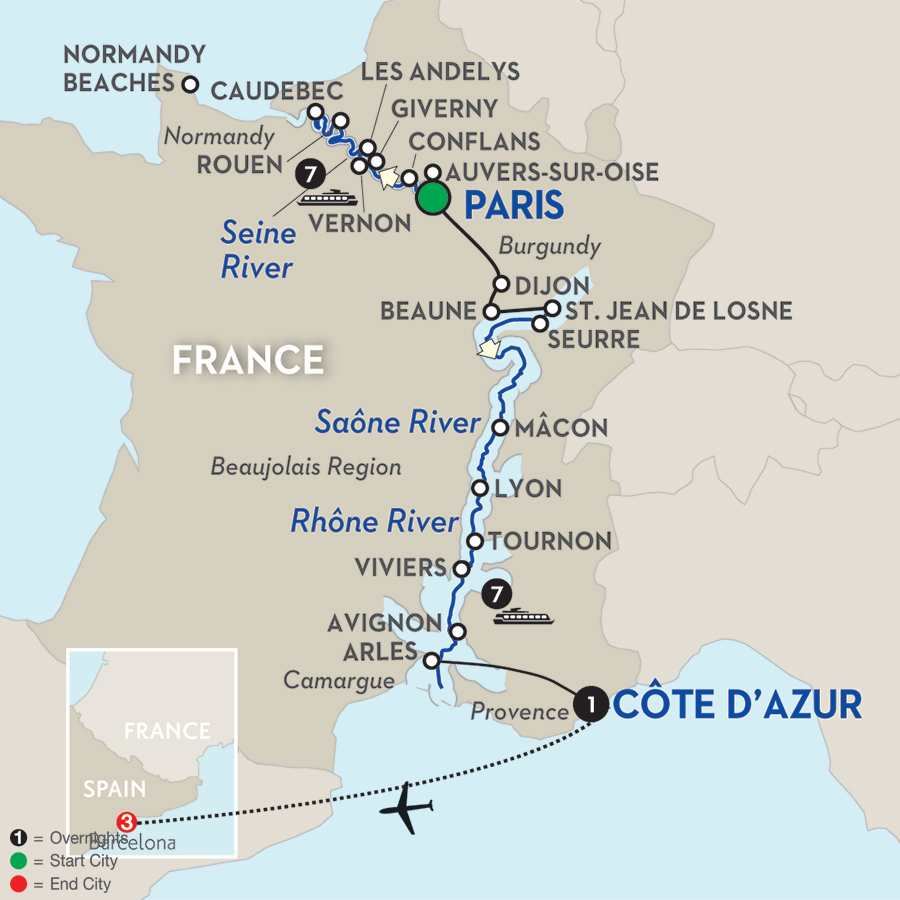 Map Of France Giverny.Wine Barcelona River Cruise Avalon Waterways