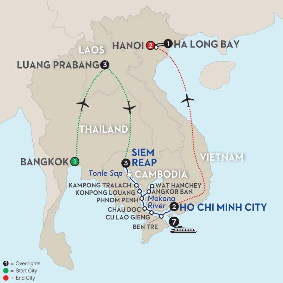 Fascinating Vietnam, Cambodia & the Mekong River with Luang Prabang, Hanoi & Ha Long Bay – Southbound