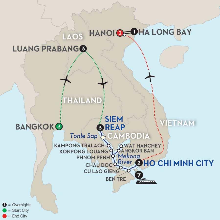 Fascinating Vietnam, Cambodia & the Mekong River with Bangkok, Luang Prabang, Hanoi & Ha Long Bay – Southbound