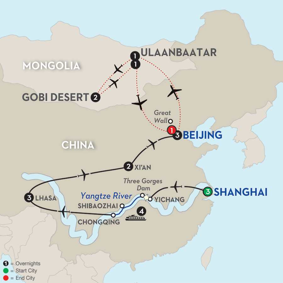 Cultural China & Tibet with Yangtze River Cruise and Mongolia