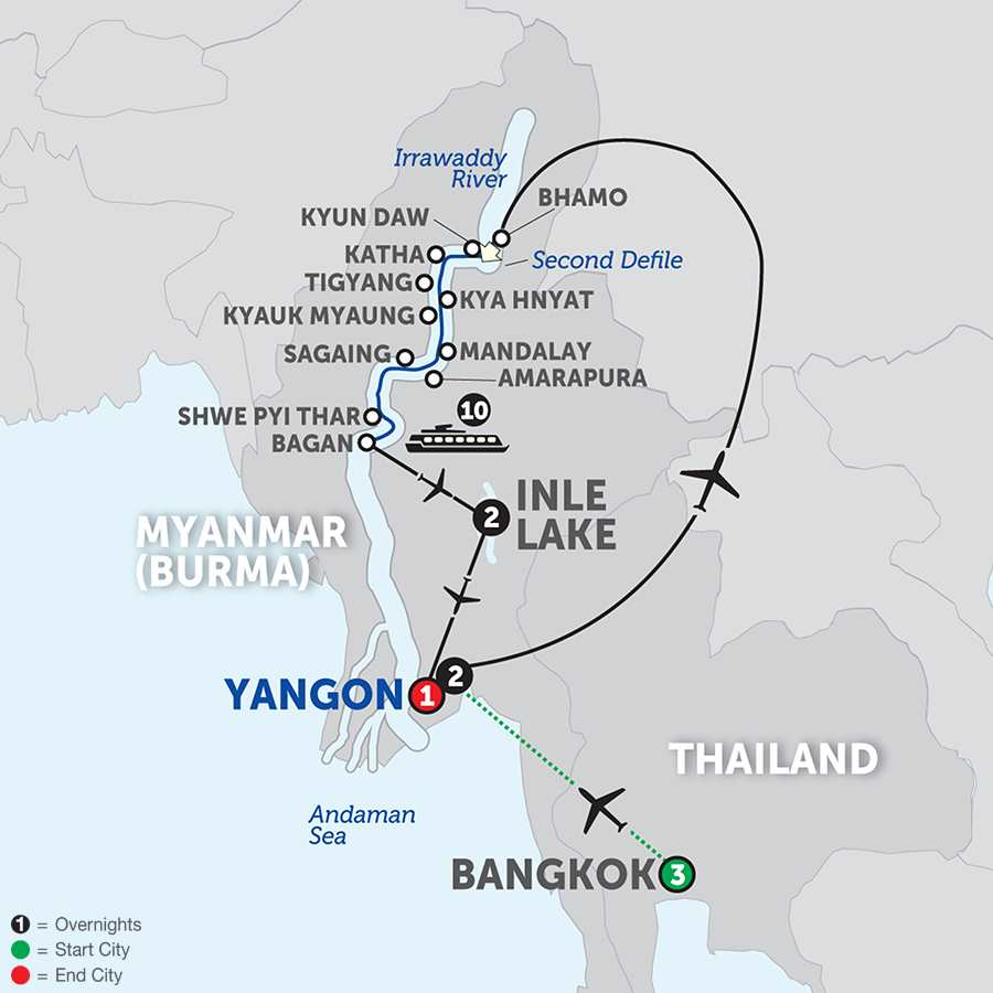 Spirit of Myanmar & the Untouched Upper Irrawaddy with Bangkok - Southbound